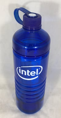 Intel Blue Plastic Cold Water Bottle Lid Attached BPA Free NEW Thousand Oaks