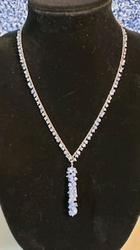 """Tanzanite 20"""" Necklace with 2"""" Drop. Platinum over Massachusetts"""