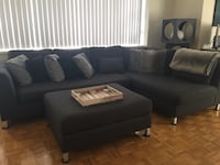 black fabric sectional sofa with ottoman Toronto