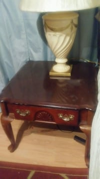 2 end tables and .Solid cherry.Very sturdy .