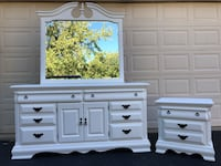 White Solid Wood 8 Drawer Long Dresser With Mirror and Nightstand  Manassas, 20112