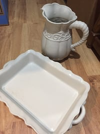 white ceramic tray and pitcher