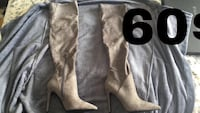pair of gray suede knee-high boots Montréal, H1M 2Y7