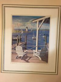 white wooden framed painting of sail boat 27 mi