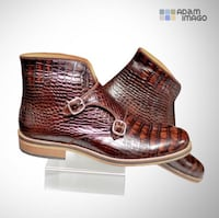 brown crocodile skin leather mid top boots