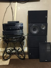 Yamaha receiver, 5 disc CD changer, 4 speakers