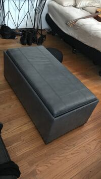 Storage ottoman with lots of space (real gray leather) Los Angeles, 90036