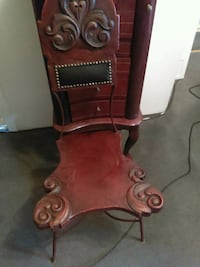 brown wooden framed brown leather padded armchair Mount Vernon, 43050