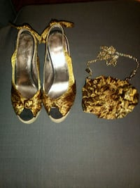 Nine West Leopard wedges w/matching bag Sunrise, 33322