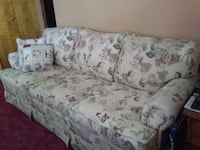 white and green floral fabric 3-seat sofa Depew, 14043