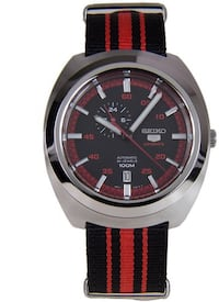 round silver-colored analog watch with red strap Sham Shui Po