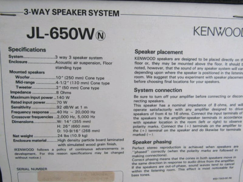 Kenwood JL-650W 3 Way Speaker System 140 Watts Mad 36477122-e4b5-47ac-88fd-ef7940120852