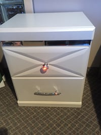 Pearl white nightstand with crystal accents includes USB charger floor model Calgary, T3M 0Y3