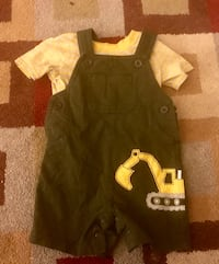 Size 12 months. Truck overalls and tee shirt. Boys clothes. Saginaw, 48609