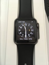 space black aluminum case Apple Watch with black sports band MONTREAL