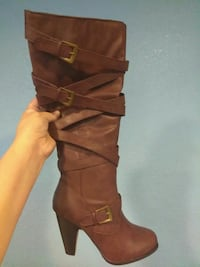 Burgundy leather knee-high boots