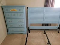 two gray wooden 3-drawer chests