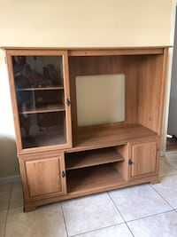 brown wooden TV hutch with cabinet Hollywood, 33021