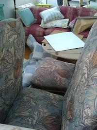 white and gray floral fabric sofa set