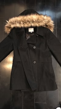 Nautical wool coat with removable fur hood