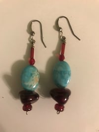 aqua and red earrings Elizabeth, 07201