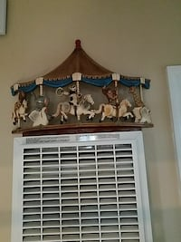brown and white carousel wall decor