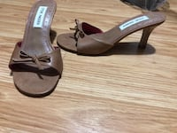 Pair of Tan leather open-toe heeled sandals Mississauga, L5R 3R7
