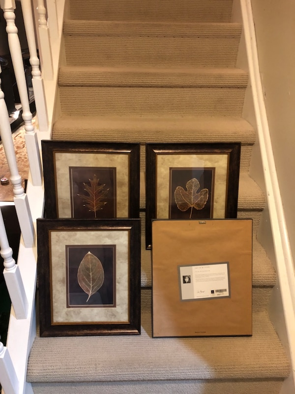 three brown wooden framed paintings of flowers a06e3a71-206c-44cf-a0e8-bd28f8572bb7