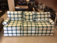 white, blue, and green plaid fabric loveseat Davenport, 33837