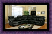 C shaped sectional black bonded leather Upper Marlboro, 20772