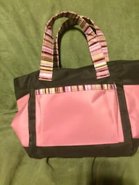 women's pink and black tote bag