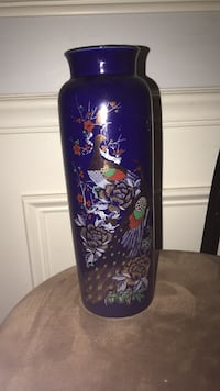 purple and green floral vase null