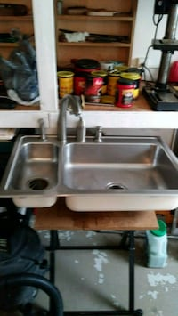 stainless steel double sink bowl with moen faucet Glen Mills, 19342