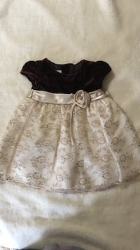 toddler's brown and cream floral mini dress