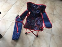 black and red floral folding chair