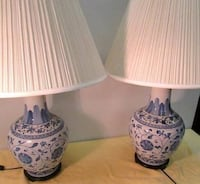 Pair of large blue and white hand painted porcelain lamps Riverdale Park, 20737