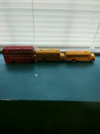 red and yellow bus scale models