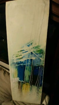 white and blue abstract painting Laval, H7X 3E4