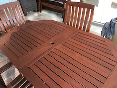 Teak patio set, seats 6, four  chairs and a love seat with cushions