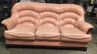 tufted white leather 3-seat sofa Toronto, M5A