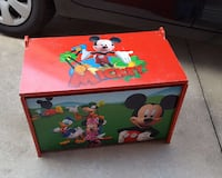 red and green Mickey Mouse print wooden drawer chest