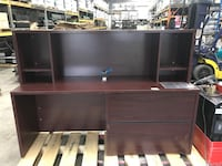 Brown wooden single pedestal desk