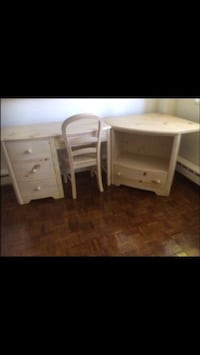 wooden dresser with chair
