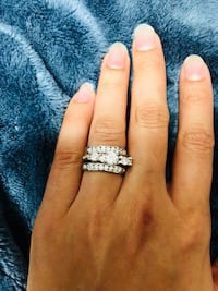 3 pcs white sapphire bridal ring set size 6 and size 9 available.price negotiable Woodbridge, 22192