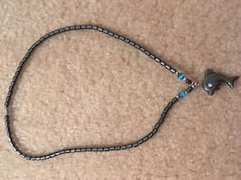 Real hematite dolphin necklace