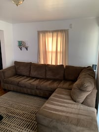 Chocolate sectional suede couch
