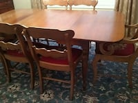 Antique dining room table and needlepoint chairs Pittsford, 14534