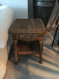 Sturdy Rattan Side Table. Great condition. 17 Inches Wide, 22 inches Tall 3157 km