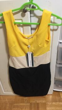 Yellow and black spaghetti strap dress