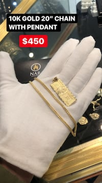 10K REAL YELLOW GOLD CHAIN WITH SOLID PENDANT  Toronto, M2J 4E3